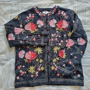 Vintage embroidered jacket with colorful flowers
